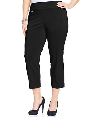 Alfani Plus Size Pull-On Capri Pants, Only at Macy's - Pants ...