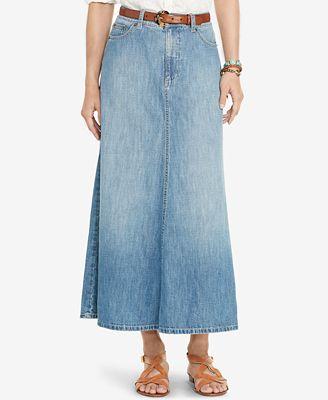 Lauren Ralph Lauren A-Line Denim Skirt - Skirts - Women - Macy's