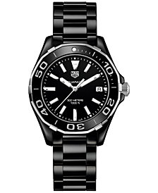 TAG Heuer Women's Swiss Aquaracer Black Ceramic Bracelet Watch 35mm WAY1390.BH0716