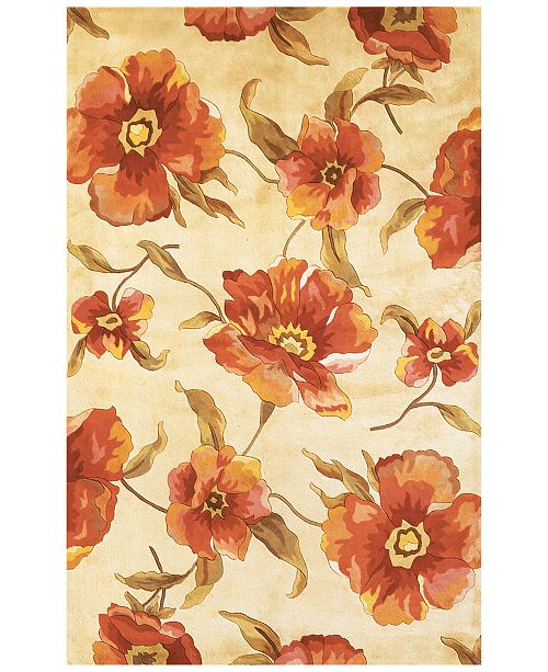 "Kas CLOSEOUT! Catalina 766 Ivory Poppies 30"" x 50"" Area Rug"