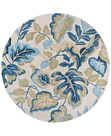 """CLOSEOUT! Coral 4169 Ivory Exotics 5'6"""" Round Rug"""