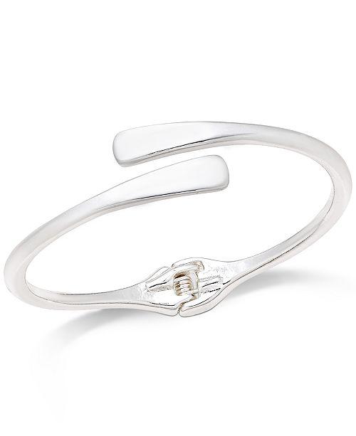 Silver-Tone Sculpted Open Hinge Bracelet
