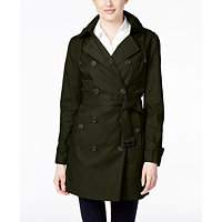 Michael Kors Double-Breasted Hooded Trench Coat