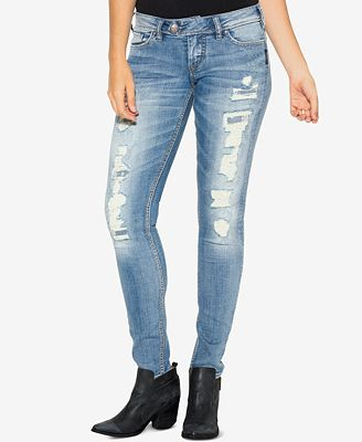 Silver Jeans Co. Tuesday Ripped Indigo Wash Skinny Jeans - Jeans ...