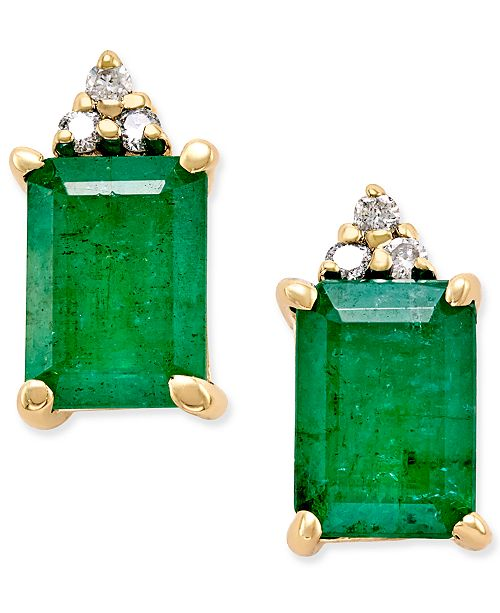 Macy's Emerald (1-7/8 ct. t.w.) and Diamond Accent Stud Earrings in 14k Gold