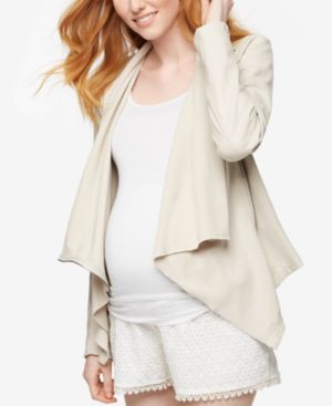 Maternity Draped Faux-Leather Jacket, Off White