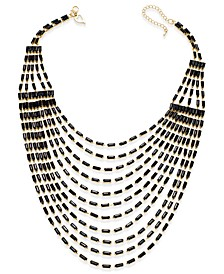 Gold-Tone Multi-Row Black Bead Bib Necklace, Created for Macy's