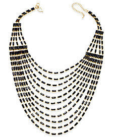 Thalia Sodi Gold-Tone Multi-Row Black Bead Bib Necklace, Created for Macy's