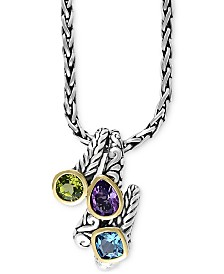 Balissima by EFFY® Multi-Gemstone Pendant Necklace (3-1/3 ct. t.w.) in Sterling Silver and 18k Gold
