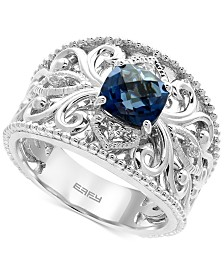 EFFY® London Blue Topaz (1-3/4 ct. t.w.) and White Sapphire Accent Statement Ring in Sterling Silver