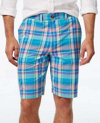 Tommy Hilfiger Men's Haaz Classic-Fit Madras Plaid Shorts - Shorts ...
