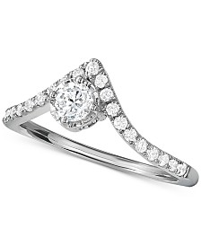 Diamond V-Shape Engagement Ring (1/2 ct. t.w.) in 14k White Gold