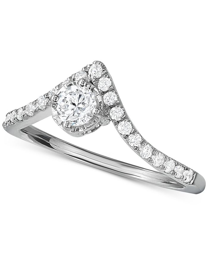 Hearts.Arrows.Together - Diamond V-Shape Engagement Ring (1/2 ct. t.w.) in 14k White Gold