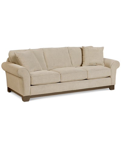 Medland Fabric Roll Arm Sofa With 2 Pillows Only At Macy