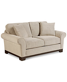 "Medland 69"" Fabric Roll Arm Loveseat with 2  Pillows, Created for Macy's"