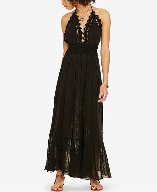 Denim & Supply Ralph Lauren Lace-Trim Gauze Halter Dress