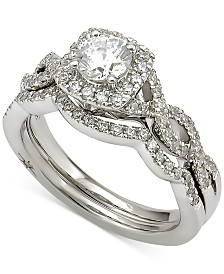 Marchesa Certified Diamond Bridal Set (1 ct. t.w.) in 18k White Gold, Created for Macy's