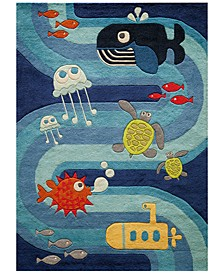 Lil Mo Whimsy LMJ-21 Ocean Life Blue 5' Round Area Rug