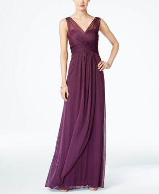 Ruched Embellished Gown