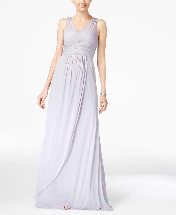 Adrianna Papell - Sleeveless Shirred V-neck Gown