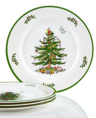Christmas Tree Melamine Dinner Plate, Set of 4