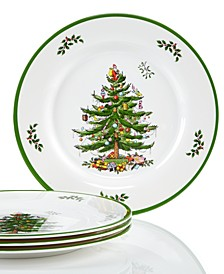 Christmas Tree Melamine Dinner Plate, Set of 4