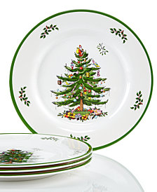 Spode Christmas Tree Set/4 Melamine Dinner Plate