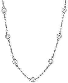 "Giani Bernini Cubic Zirconia Bezel-Set Necklace in 18k Gold-Plated Sterling Silver & Sterling Silver, 16"" + 2"" Extender, Created for Macy's"