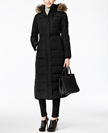 Petite Belted Faux-Fur-Trim Down Hooded Puffer Coat