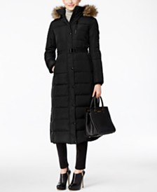 Michael Michael Kors Petite Belted Faux-Fur-Trim Down Hooded Puffer Coat