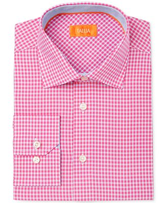 Tallia Men's Extra Slim-Fit Pink Check Dress Shirt - Dress Shirts ...