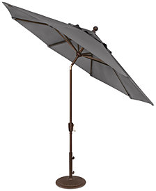 Outdoor Bronze 9' Push Button Tilt Umbrella, Quick Ship