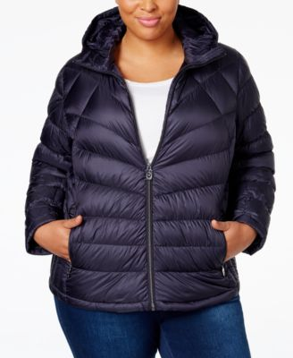 MICHAEL Michael Kors Plus Size Packable Down Hooded Puffer Coat, Only at Macy's