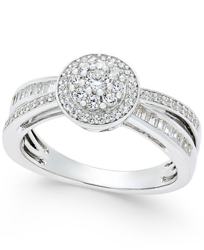Diamond Modern-Style Ring (1/2 ct. t.w.) in Sterling Silver