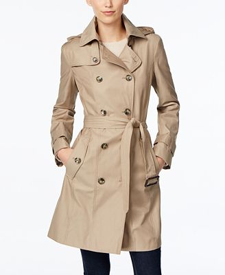 London Fog Hooded All-Weather Double-Breasted Trench Coat - Coats ...