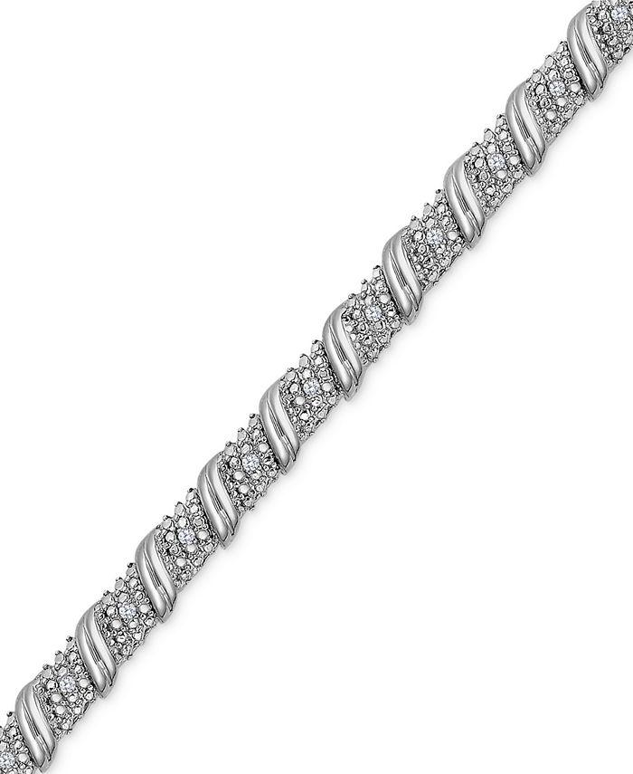 Macy's - Diamond Diagonal Bracelet (1/4 ct. t.w.) in Sterling Silver