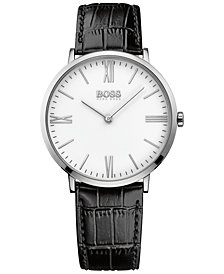BOSS Hugo Boss Men's Jackson Black Leather Strap Watch 40mm 1513370