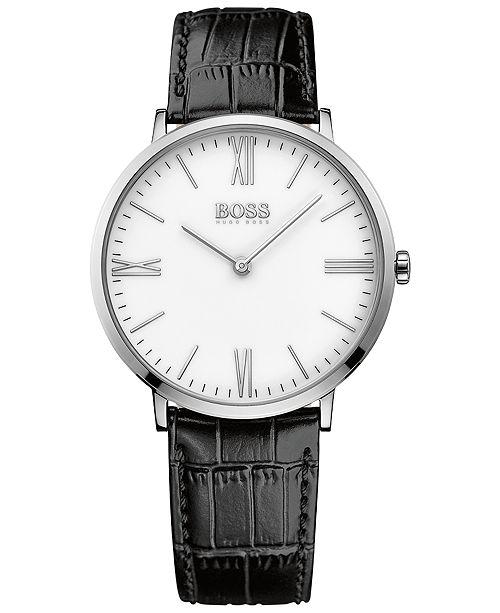 BOSS Hugo Boss Men's Jackson Black Leather Strap Watch 40mm 1513370