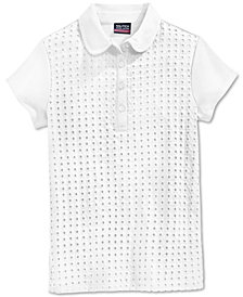 Nautica School Uniform Eyelet Polo Shirt, Big Girls