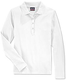 Big Girls School Uniform Ruffled Long-Sleeve Polo Shirt