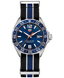 TAG Heuer Men's Swiss Formula 1 Striped NATO Nylon Strap Watch 43mm WAZ1010.FC8197