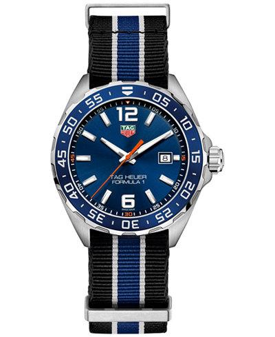 TAG Heuer Men's Swiss Formula 1 Striped NATO Nylon Strap Watch 43mm WAZ1010.FC8197