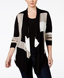 INC Plus Size Colorblocked Multi-Stitch Cardigan, Created for Macy's