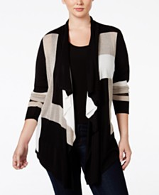 I.N.C. Plus Size Colorblocked Multi-Stitch Cardigan, Created for Macy's