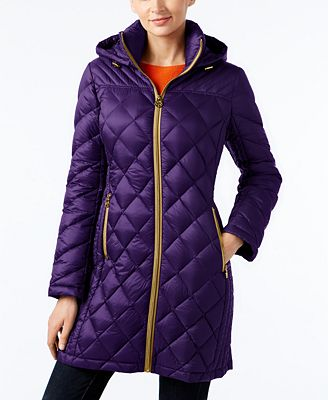 MICHAEL Michael Kors Hooded Packable Down Diamond Quilted Puffer ... : down quilted coats - Adamdwight.com