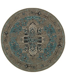 CLOSEOUT! Oriental Weavers Revamp REV7694E Grey/Blue 7'8'' Round Rug