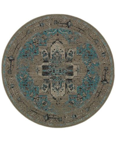 CLOSEOUT! Oriental Weavers Revamp REV7694E Grey/Blue 7'8'' Round Rug