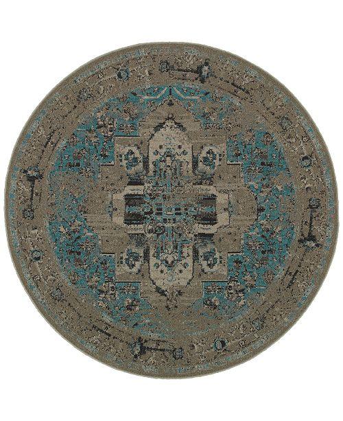 Oriental Weavers CLOSEOUT! Revamp REV7694E Grey/Blue 7'8'' Round Rug