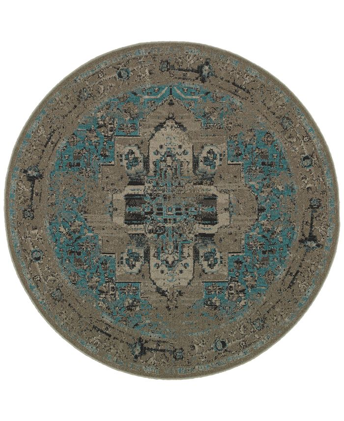 Oriental Weavers - Revamp REV7694E Grey/Blue 7'8'' Round Rug