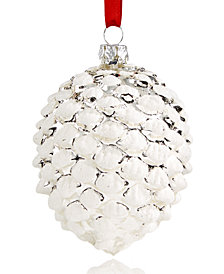 Holiday Lane Glass Silver and White Pinecone Ornament, Created for Macy's